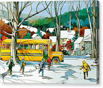 School Bus Canvas Print - Early Bus by Art Scholz