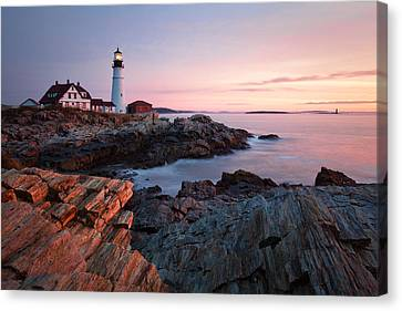 Early Dawn At Portland Head Lighthouse Canvas Print by Eric Gendron