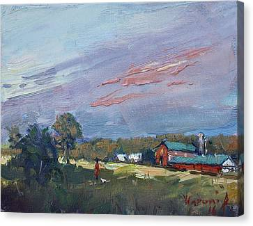 Early Evening At Phil's Farm Canvas Print by Ylli Haruni