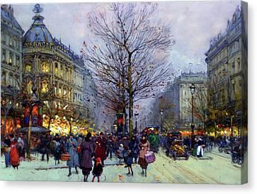 The Boulevards Canvas Print - Early Evening On The Boulevards Paris by Georgiana Romanovna