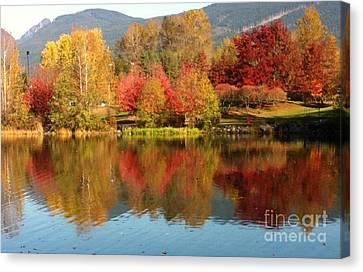 Canvas Print featuring the painting Early Fall At Lafarge Lake by Rod Jellison