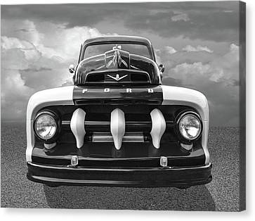 Early Fifties Ford V8 F-1 Truck In Black And White Canvas Print by Gill Billington