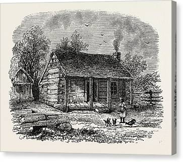 Lincoln Drawings Canvas Print - Early Home Of Abraham Lincoln by American School