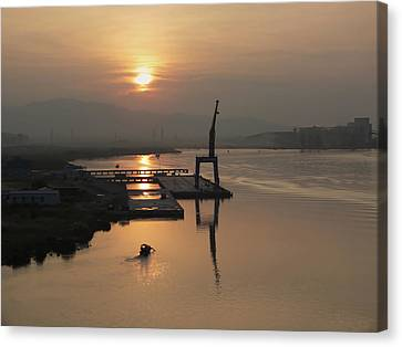 Canvas Print featuring the photograph Early Hour On The River by Lucinda Walter