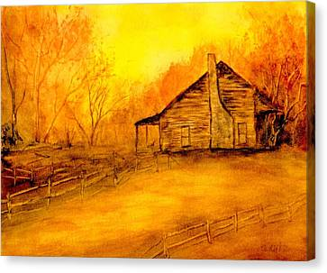 Canvas Print featuring the painting Early Kentucky Times by Gail Kirtz