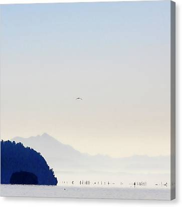 Early Morning Ala Spit Whidbey Island Square Format Canvas Print