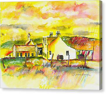 Yellow Building Canvas Print - Early Morning by Arline Wagner