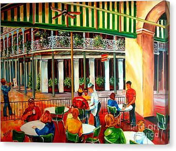Corner Canvas Print - Early Morning At The Cafe Du Monde by Diane Millsap