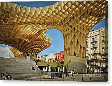Early Morning At The Plaza Encarnacion - Seville Canvas Print by Mary Machare