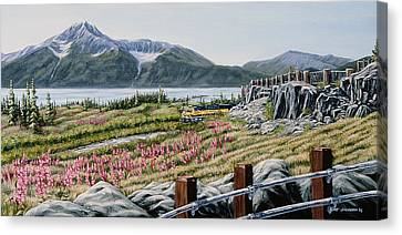 Canvas Print featuring the painting Early Morning Bird Point by Kurt Jacobson