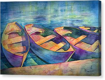 Row Boat Canvas Print - Early Morning Boatride by Michael Bulloch