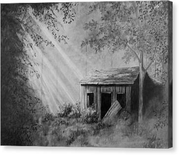 Old Cabins Canvas Print - Early Morning Cabin by Stephen McCall