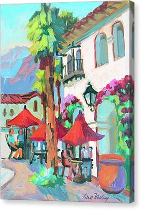 Canvas Print featuring the painting Early Morning Coffee In Old Town La Quinta 2 by Diane McClary