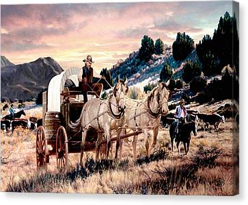 Cattle Drives Canvas Print - Early Morning Drive by Ron Chambers