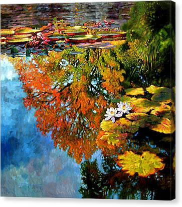 Early Morning Fall Colors Canvas Print by John Lautermilch