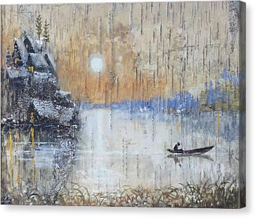 Early Morning. Fishing On Lake Canvas Print