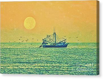 Early Morning Fishing Canvas Print by Deborah Benoit