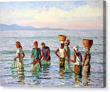 Early Morning Fishing Canvas Print by Roelof Rossouw