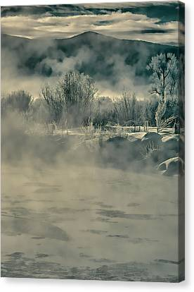 Canvas Print featuring the photograph Early Morning Frost On The River by Don Schwartz