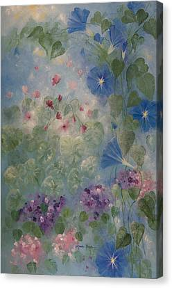 African Violets Canvas Print - Early Morning Glory by Linda Rauch