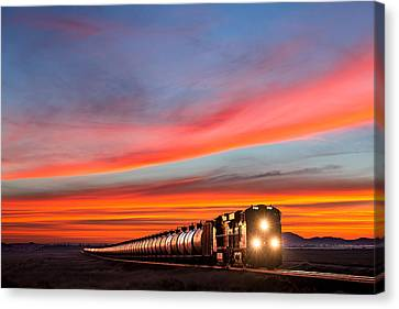 Train Tracks Canvas Print - Early Morning Haul by Todd Klassy