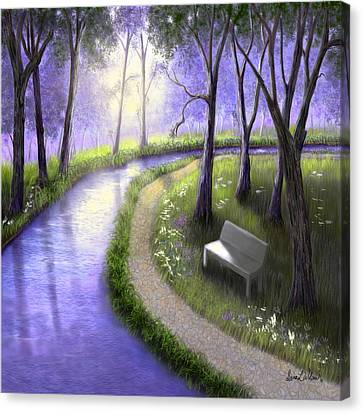 Canvas Print featuring the painting Early Morning In The Park by Sena Wilson