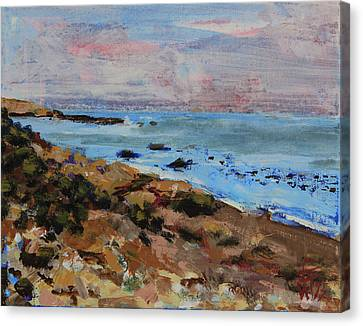 Canvas Print featuring the painting Early Morning Low Tide by Walter Fahmy