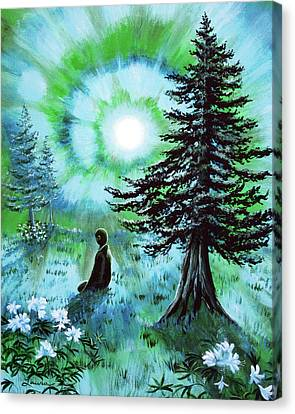 Early Morning Meditation In Blues And Greens Canvas Print by Laura Iverson