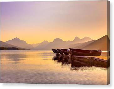 Early Morning On Lake Mcdonald Canvas Print by Adam Mateo Fierro