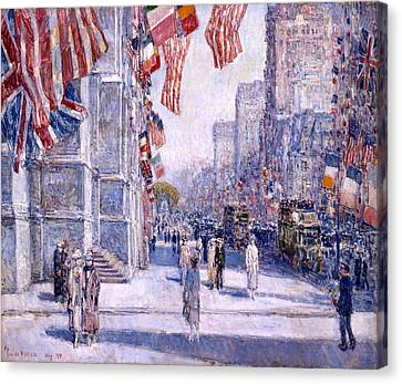 Canvas Print featuring the painting Early Morning On The Avenue In May 1917 - 1917 by Frederick Childe Hassam
