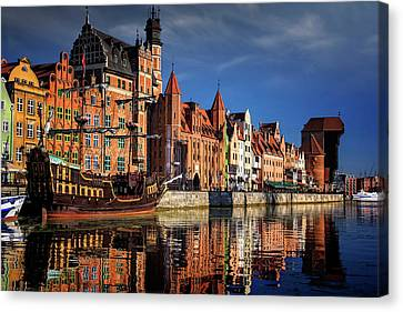 Crane Canvas Print - Early Morning On The Motlawa River In Gdansk Poland by Carol Japp