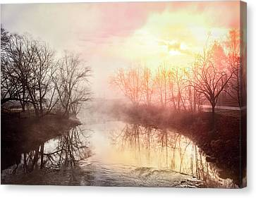 Canvas Print featuring the photograph Early Morning On The River by Debra and Dave Vanderlaan