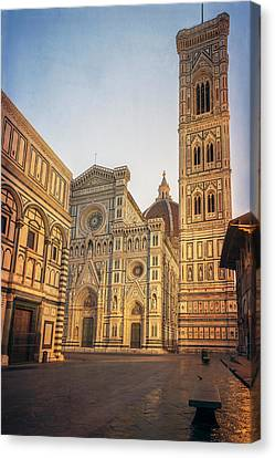 Early Morning Piazza Del Duomo Florence Italy Canvas Print