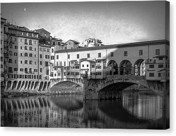 Canvas Print featuring the photograph Early Morning Ponte Vecchio Florence Italy by Joan Carroll