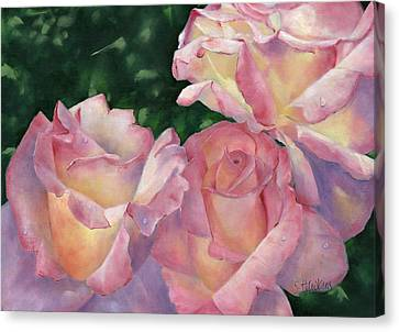 Early Morning Roses Canvas Print by Sheryl Heatherly Hawkins