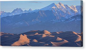 Early Morning Sand Dunes And Snow Covered Peaks Canvas Print by James BO Insogna