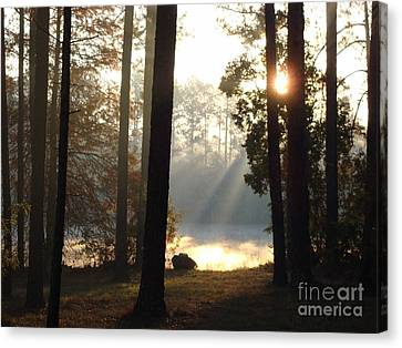 Early Morning Sun Rays On The Lake Canvas Print by Cindy Hudson