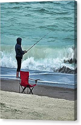 Early Morning Surf Fishing Canvas Print by Sandi OReilly
