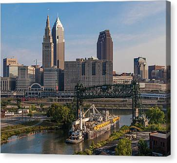 Early Morning Transport On The Cuyahoga River Canvas Print
