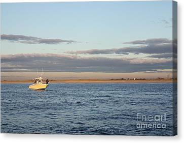 Early Morning Trolling For Striped Bass Canvas Print by John Telfer