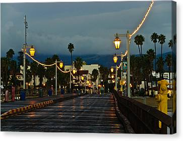 Early Morning Walk On Stearn's Pier Canvas Print by Connie Cooper-Edwards