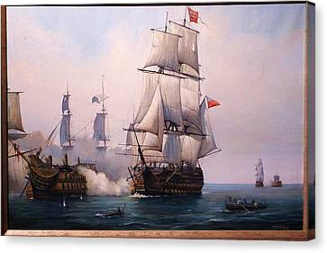 Canvas Print featuring the painting Early Painting Of The Battle Of Trafalgar. by Mike Jeffries