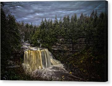 Early Snow At Black Water Falls Canvas Print