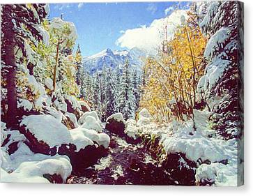 Canvas Print featuring the photograph Early Snow by Eric Glaser