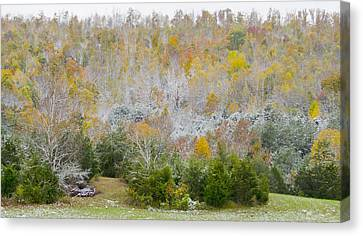 Canvas Print featuring the photograph Early Snow Fall by Wanda Krack