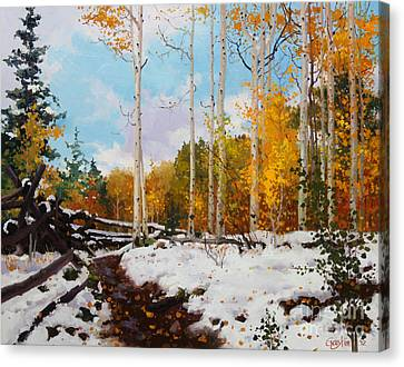 Early Snow Of Santa Fe National Forest Canvas Print by Gary Kim