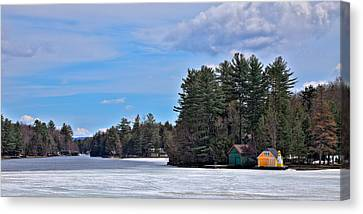 Early Spring On Old Forge Pond Canvas Print by David Patterson