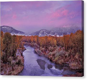 Early Winter Sunset Canvas Print by Leland D Howard