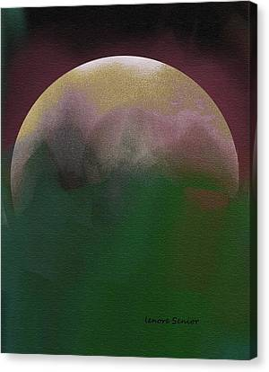Earth And Moon Canvas Print by Lenore Senior