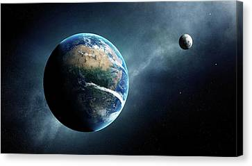 Earth And Moon Space View Canvas Print by Johan Swanepoel